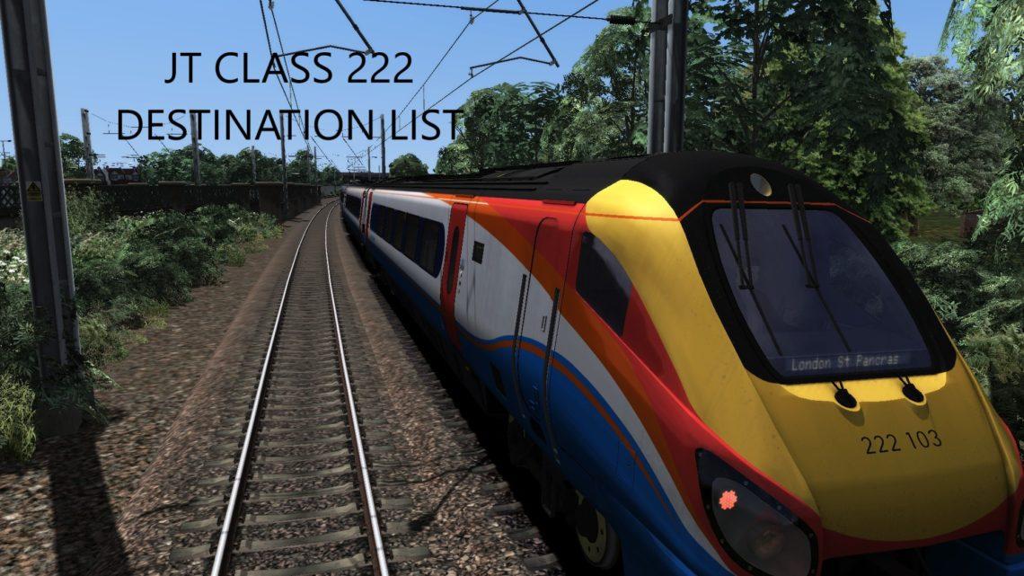 JT Class 222 Destination List