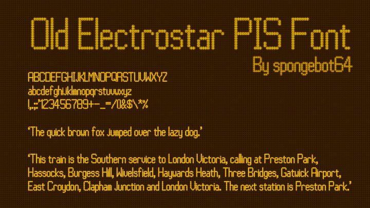 Old Electrostar PIS Font