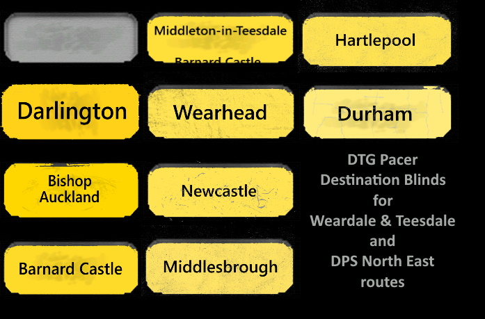 DTG Class 142 Pacer – Destination blinds for Weardale & Teesdale and DPS North East routes