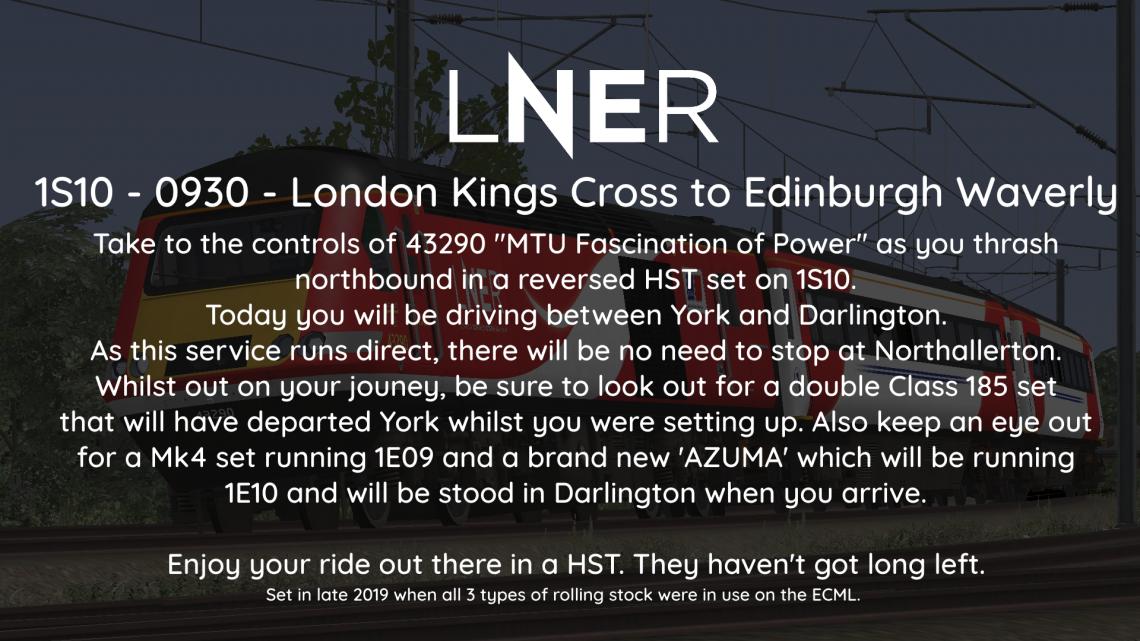 1S10 – 0930 – London Kings Cross to Edinburgh Waverly