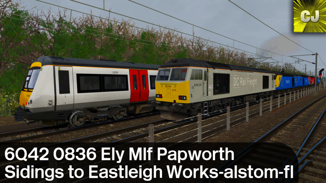 6Q42 0836 Ely Mlf Papworth Sidings to Eastleigh Works-alstom-fl