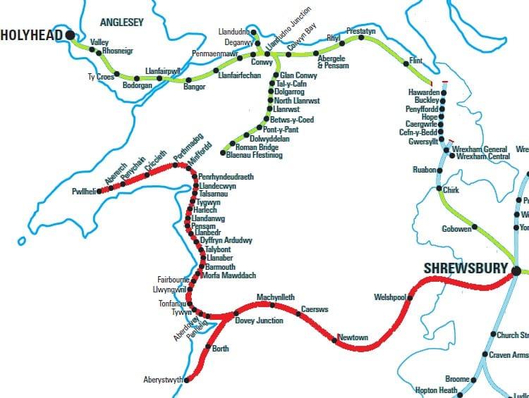 Cambrian Route from Shrewsbury to Pwllheli and Aberystwyth